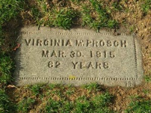 Virginia Prosch's grave, Lake View Cemetery, Seattle