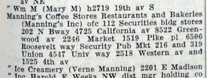 Manning's listing in 1943-44 Seattle Polk's Directory.