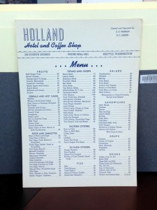 Holland Restaurant (Seattle) menu, Courtesy The Seattle Public Library