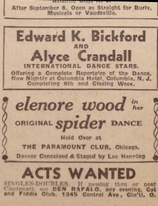 Available acts, The Billboard, 1938.