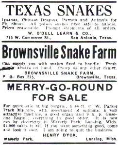 Snakes for sale, The Billboard, 1938.